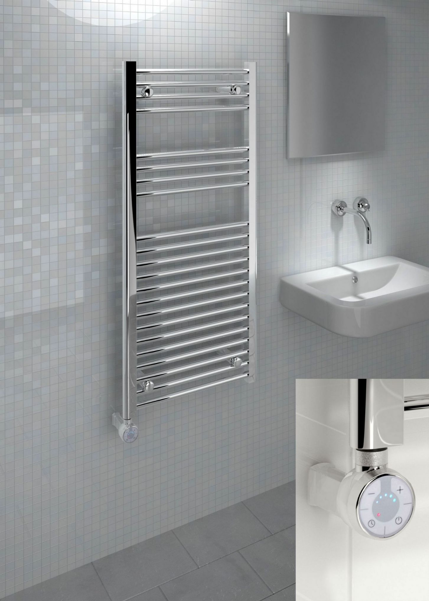Kudox Thermostatic Electric Towel Rail Straight 500mm x 1100mm Chrome 5060235347504