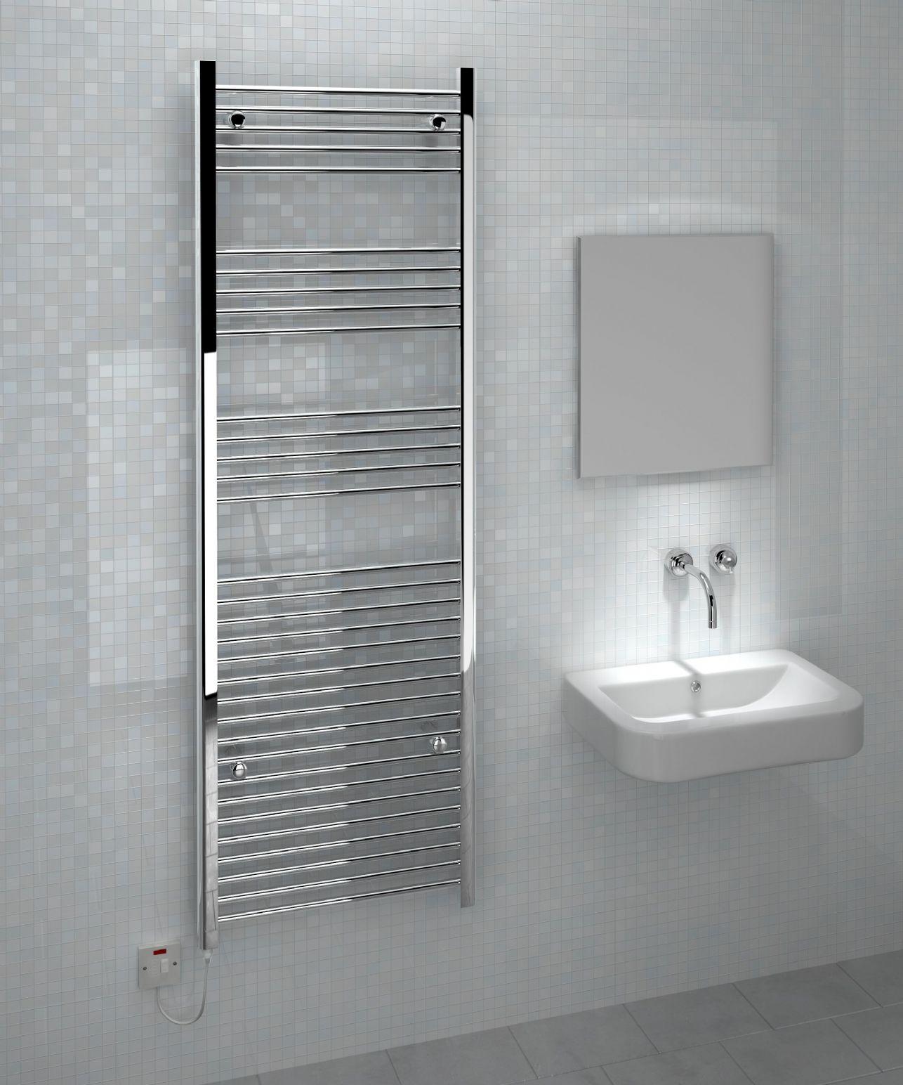 Kudox Flat Electric Towel Radiator: Kudox Large Electric Towel Rail Chrome 600W (600 X 1800mm