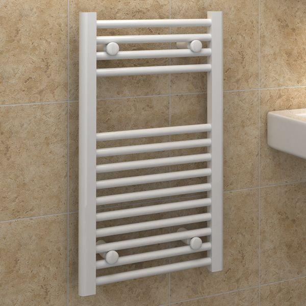 Kudox Electric Towel Rail 400mm X 700mm Chrome: Kudox Premium Ladder Towel Rail Flat D 400mm X 700mm White
