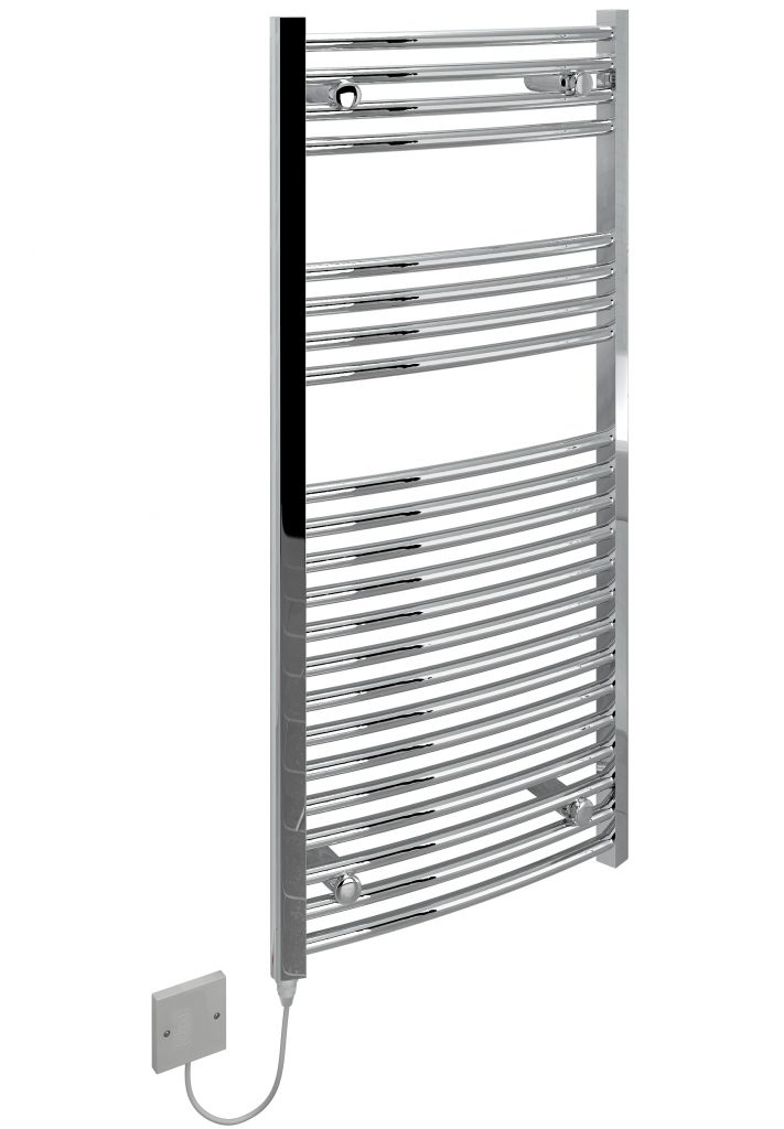 kudox electric towel rail curved chrome 250w  500 x 1100mm