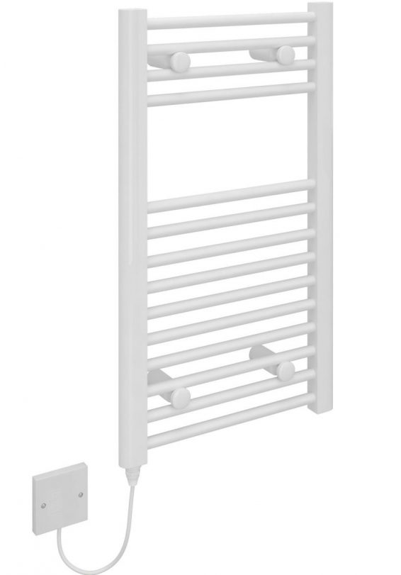 Kudox Small Electric Towel Rail 400mm x 700mm Flat White 5060235345272