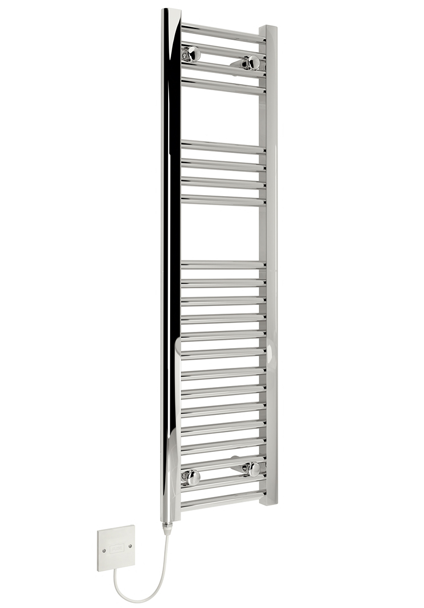 kudox slim electric towel rail chrome 150w  300 x 1100mm