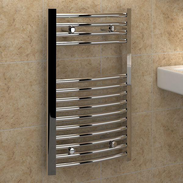 Kudox Electric Towel Rail 400mm X 700mm Chrome: Kudox Premium Ladder Towel Rail Curved D 400mm X 700mm