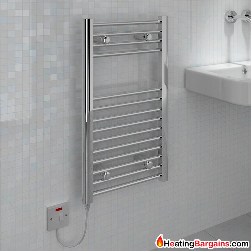 Heated Towel Rails Electric Chrome: Kudox Small Electric Towel Rail Chrome 150W (400 X 700mm