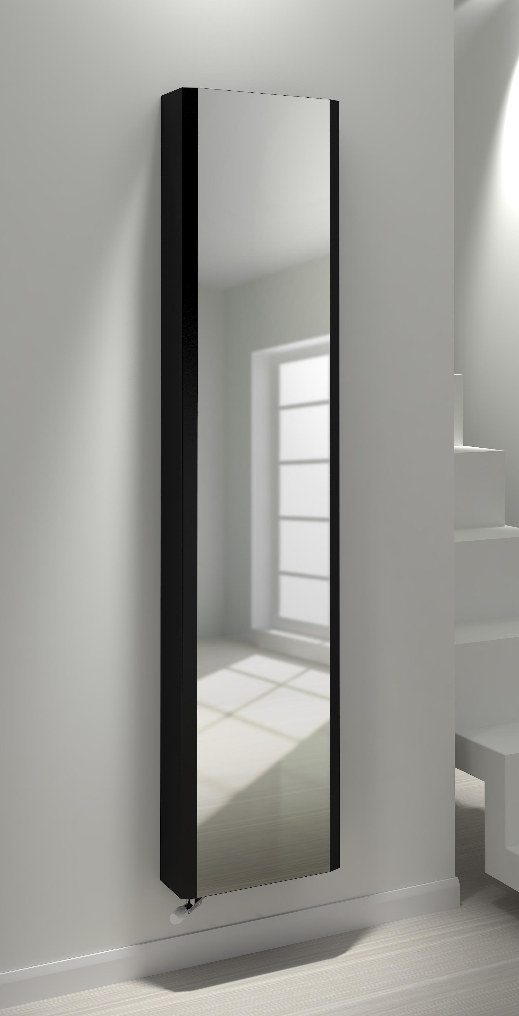 Kudox cassano vertical mirror radiator black 1800x400mm for Mirror radiator